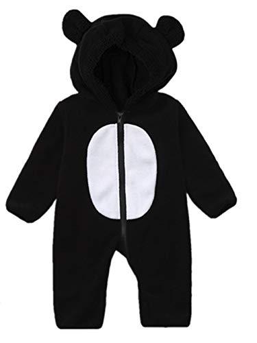 MRULIC Baby Overall Mit Kapuze Footies Winter Strampler Schneeanzüge Karikatur Jumpsuit Mädchen Jungen Kleidungsset Fleece Footed Spielanzug(C-Schwarz,Höhe:65-70cm)