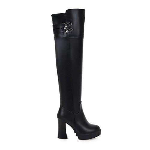 AllhqFashion Damen Hoch-Spitze Reißverschluss Niedriger Absatz Stiefel mit Metallisch, Schwarz, 35