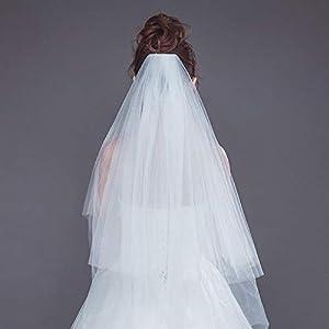 FengJingYuan-ZHUBAO Zwei-Klassen-Lace Hochzeit Braut-Hochzeitsschleier mit Haaren Kamm Hochzeit Haar-Accessoires