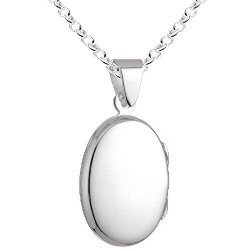 aillon oval glänzend zum Öffnen mit Erbskette 42 cm Sterling Silber 925 Kette Italien AMO-T42 ()