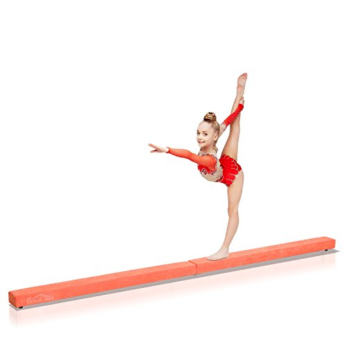 Homcom Poutre de Gymnastique Pliable Poutre d'équilibre antidérapante 2,1 m revêtement Daim