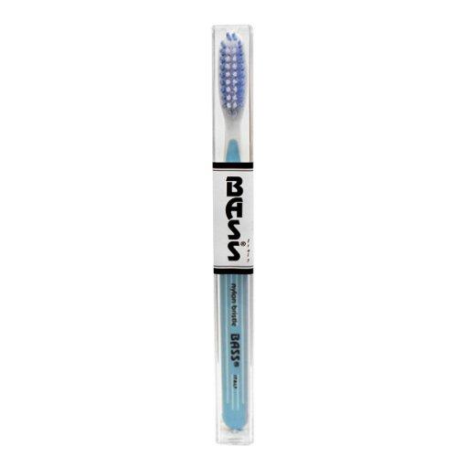 Tooth Brush - Pin Striped Nylon l Bristle Bass Brushes 1 Tooth Brush (Colors May Vary) by Bass Brushes
