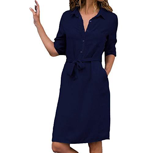 Elegant V-Ausschnitt Langarm Blusenkleid Shirt Kleid MiniKleid mit Gürtel von Innerternet ()