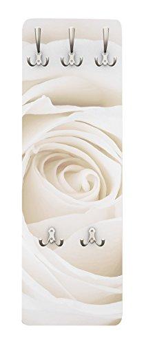 Apalis Rosen Garderobe Weiß - Pretty White Rose - Blumen Garderobe Landhaus | Design Garderobe Garderobenpaneel Kleiderhaken Flurgarderobe Hakenleiste Holz Standgarderobe Hängegarderobe | 139x46cm