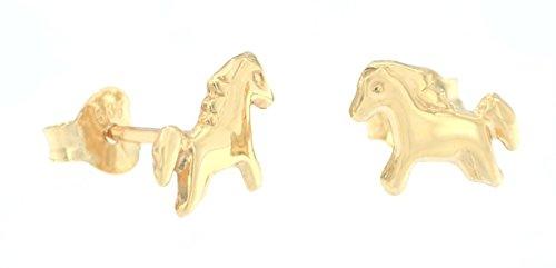 ERCE Pferde Ohrstecker 14 Karat 585 Gold, Größe 6 x 8 mm