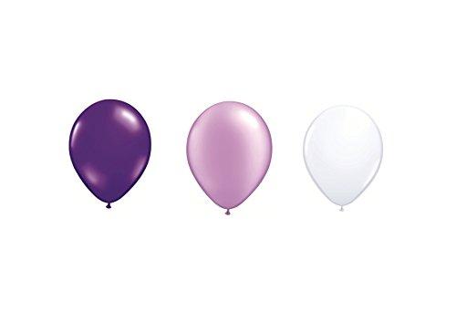 allon Luftballon je 20x metallic flieder, metallic lila und metallic weiß ca. 28/ 30 cm ø (Ballongas geeignet) und ein weißes Aufblasventil sowie ein DeCoArt...Merkblatt (Ballon-lila)