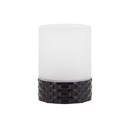 Xanlite | LAPSOV, Lampe à poser LED Solaire, verre dépoli et base effet osier, extérieur : IP44