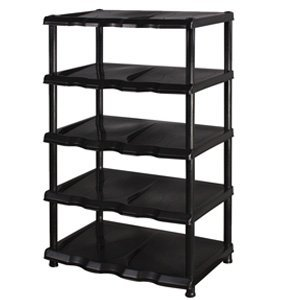 5 Tier Black Plastic Shoe Rack Shelf: Amazon.co.uk: Kitchen & Home
