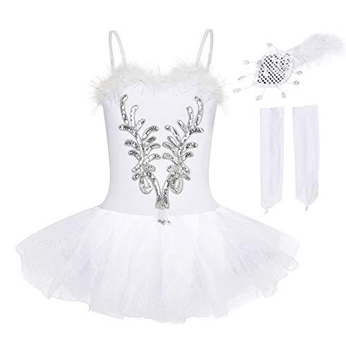 FONLAM Vestido Maillot de Ballet Danza Cisne para Niña Maillot Gimnasia Ballet Infantil Tutú Niña (4-5 Años)