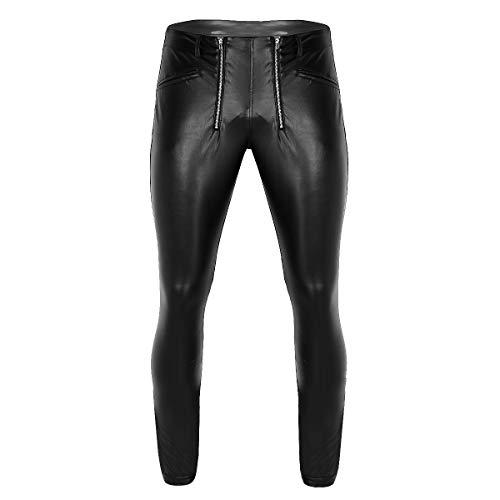iixpin Herren Wetlook Leggings mit Reißverschluss Kunstleder Ouvert-Hose Fitness Schwarz Hose Funktionswäsche Pants Schwarz ()
