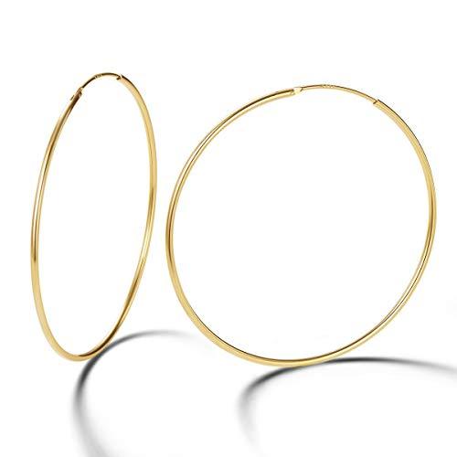 Ohrringe Runde Röhre 1.5 mm-Stärke Endlos-Verschluss für Frauen Mädchen aus 925 Sterling Silber Gold Vergoldet Ohrschmuck - Durchmesser: 70 mm ()