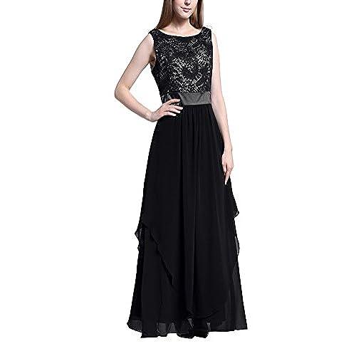 Abendkleider lang mit armel und spitze schwarz