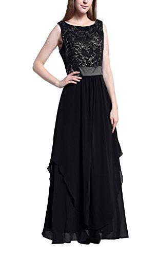 MILEEO Damen Sommer Kleid Spitze und Chiffon Festlich Abendkleid Lang A-Linie ohne Arm Elegant in verschied. Farben Schwarz