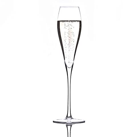 Crystal Champagne Flutes by Lunar Oceans. Set of 2 Lead Free Glasses. Luxury Gift Set.