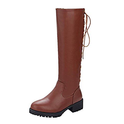 Mee Shoes Damen backstrap Rei脽verschluss runde langschaft Stiefel Braun