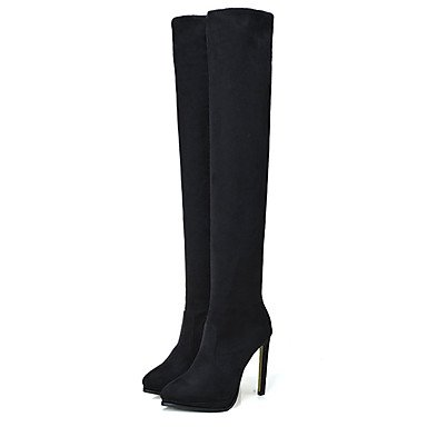 Guccing Women's Shoes Leatherette Spring Fall Winter Basic Pump Comfort Novelty Boots Stiletto Heel Thigh-high Boots Hook & Loop For Wedding,Black,US8 / EU39 / UK6 / CN39 (Boot Flache Heel Thigh)