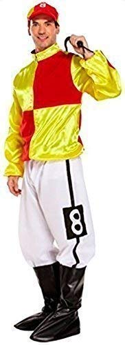Jockey Kostüm Für Herren - Herren in Rot/Gelb, 4-teilig, Rennpferd und
