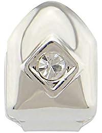 Solo Diamantes de imitación galjanoplastia Hiphop Bling Dientes Tapas para Hombres/Mujeres Regalos (Color : Plata)