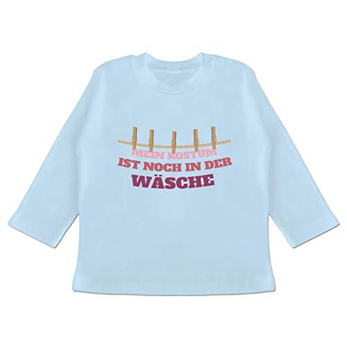 Der Kostüm Gruppe Sechs - Karneval und Fasching Baby - Mein Kostüm ist noch in der Wäsche Wäscheleine rot - 6-12 Monate - Babyblau - BZ11 - Baby T-Shirt Langarm