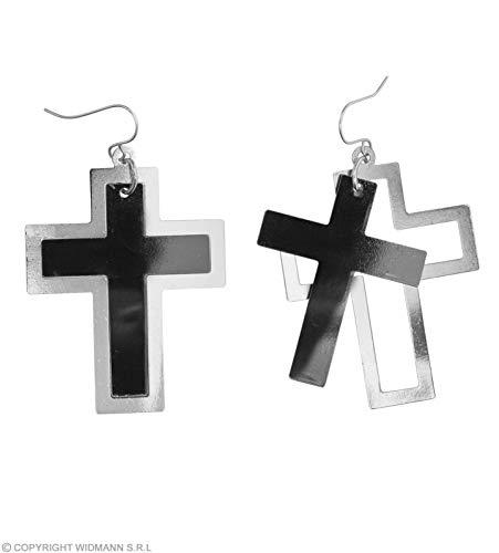 WIDMANN Générique Ohrringe, Kreuz, Silber und Schwarz, für - Großen Schwarzen Kostüm