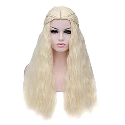 Baisheng Game of Thrones Daenerys Targaryen Milk Golden Long Wave Curly Braid Anime Cospay Princess Style Full Hair Wigs (70cm -Milk gold)