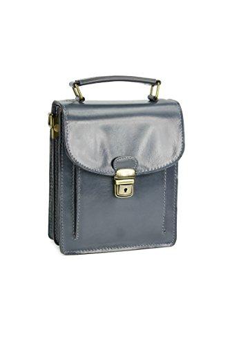 "BELLI® ""Design Bag B Mini"" ital. Ledertasche kleiner Messenger unisex - Farbauswahl - 18x21x8 cm (B x H x T) Grau"