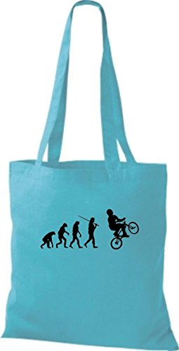 Shirtinstyle Borsa Di Stoffa Jute Evolution Moto Bike Biking Stunt Freebike Biker Colore Vario Cielo Blu