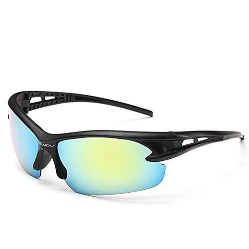 LKVNHP Neue Hochwertige Mode Sport Sonnenbrille Männer Sonnenbrille Sportbrillen Strand Fahren Angeln Sonnenbrille Explosionsgeschützte SonnenbrilleSchwarz Grün Spiegel