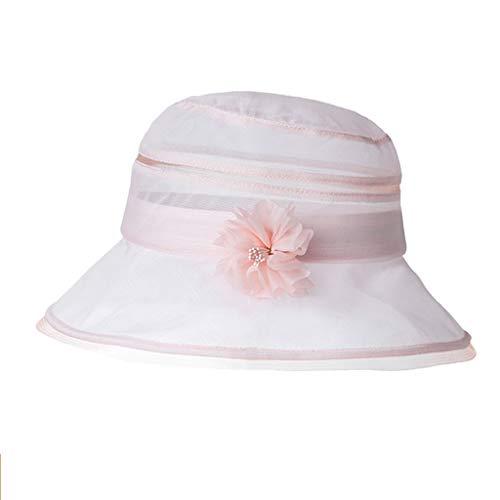 Fischerhüte,Bucket Hat Seide Damen Frühling Sommer Strand Radfahren Angeln Camping UV Schutz Faltbar Stylisch (Color : Pink) Pink Angel Hat