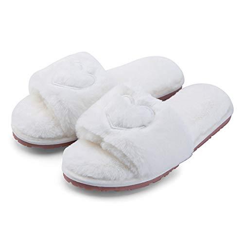 Dabixx donne casa casa pantofole peluche coperta piatta open toe infradito ry scarpe tinta unita morbido - bianco - 37-38
