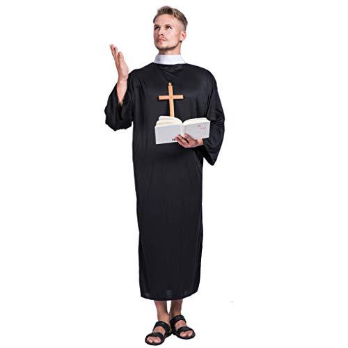 EraSpooky Herren Priester Mönch Kostüm Cosplay Faschingskostüme - Halloween Party Karneval Fastnacht Kleid für - Für Erwachsenen Mittelalter Mann Kostüm