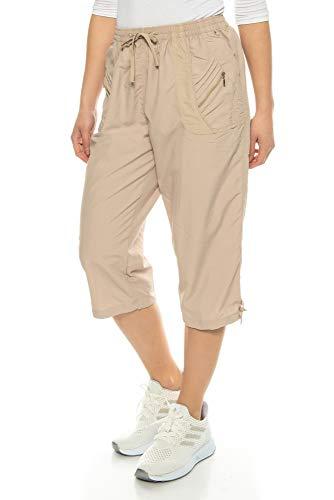 Beige Capri-hose (Kendindza Damen Sommer Stoff-Shorts | 3/4 Capri-Hose | Basic Uni-Farben bis 3XL (Beige, XXXL))