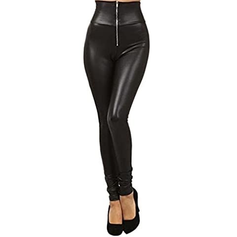 Awhao Women Faux Leather Tights Stretchy Hight Waisted Zipper Leggings Pants