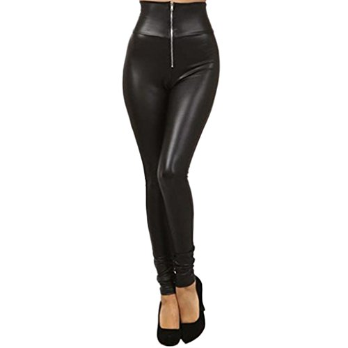 Awhao-Women-Faux-Leather-Tights-Stretchy-Hight-Waisted-Zipper-Leggings-Pants