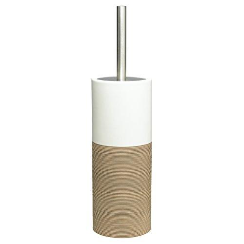 Sealskin 361840565 WC-Bürstengarnitur Doppio Badaccessoire, Porzellan, sand, 10,1 x 10,1 x 38,3 cm