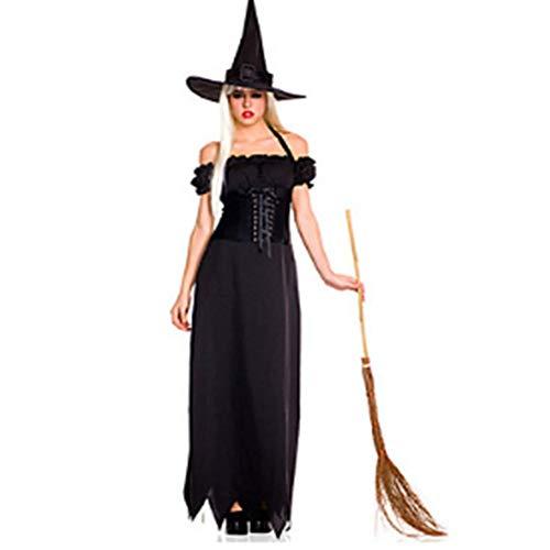 WHFDRHWSJFZ SportingGoods Prom Halloween Skelett KostümCosplay Kostüme/Party Kostüm Zauberer/Hexe Party/Urlaub Halloween Kostüme Schwarz Solid Kleid/Halloween Hut/Karneval Frau, M
