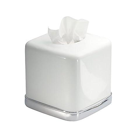 mDesign Tissue Box Holder - Square - Tissue Box Cover for the Bathroom - Premium Metal - Car Tissue Box - Modern and Minimalist Design - White with Chrome