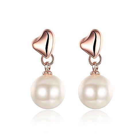 yeahjoy Bling Bijoux Femme–Perle Imitation–Boucles d'Oreilles Pendantes Femme–Cœur plaqué or rose boucles d'oreilles créoles