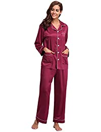 Abollria Pijamas Mujer Saten Mujer Camisones Satin Pijamas 2 Piezas Manga Larga Elegante Ropa de Dormir