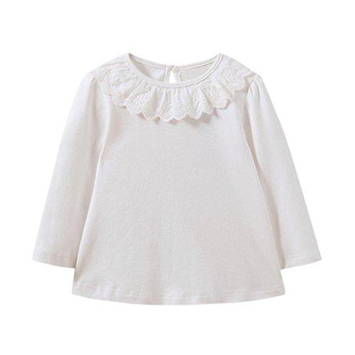 LSAltd Kleinkind baby Mädchen Spitze Rundhals Langarm-shirt Bluse Infant solide Warme Tops T-shirt (24 Monate, Weiß) (Säugling, Kleinkind T-shirt)