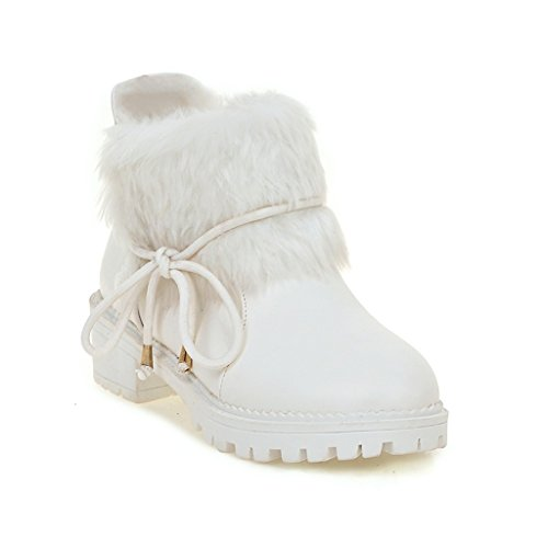 Ladola Damen Rein Louis-Xv Absatz Warm Gefüttert Weiß Anderes Leder Stiefel - 36 EUR