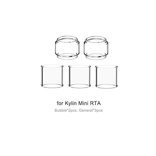 (5-pack) Topuro kylin mini RTA bubble Replacement Pyrex Glass Transparent Colors packs of 5