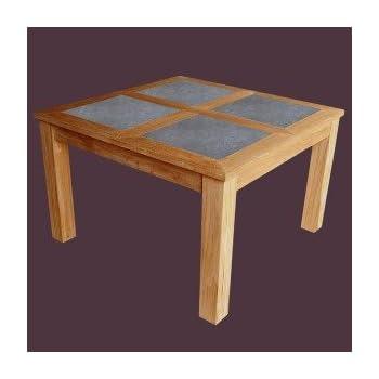 Table carrée EXOTIA, 4 à 8 personnes, plateau en pierre, 120 cm