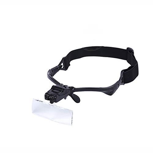 Minamoto Chisei Brille mit 2 LED-Licht, Freisprech-Lesekopfhalterung, Lupe, 5 abnehmbare Linsen zum Lesen, Schmucklupe, Uhr und elektronische Reparatur