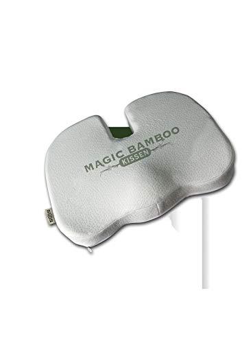 Magic Bamboo Premium Orthopädisches Sitzkissen aus Viskoschaum   lindert Rückenschmerzen, zur Steißbeinentlastung   geeignet für Auto, Reisen, Bürostuhl   waschbar   Bezug aus 40% Bambusfaser