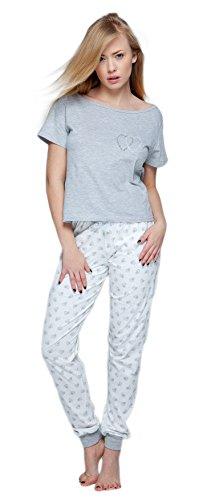 Sensis stillvoller Baumwoll-Pyjama Schlafanzug Hausanzug aus Feinem T-Schirt und Bequemer Hose, Made in EU (S (36), Hellgrau/weiß mit Herzen)