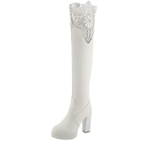 Y2Y Studio Femmes Bottes Cuissardes Longues Fashions avec Lace Talons Hauts Thick Heel avec Zip Boots Shoes Winter