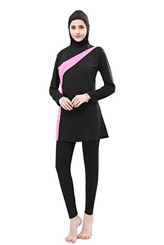 BOZEVON Muslimischen Badeanzug - Muslim Islamischen Bescheidene Badebekleidung Modest Swimwear Beachwear Burkini für Damen, Schwarz+Rosa, EU M=Tag L - 2