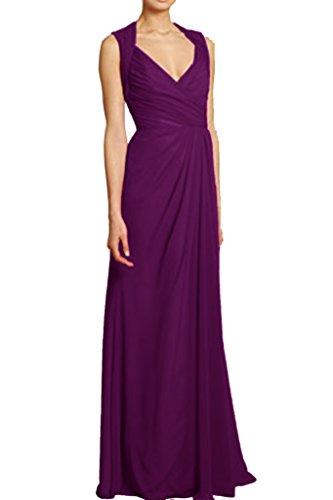 Victory Bridal Einfach Geraft V-ausschnitt Brautjungfernkleider Abendkleider Partykleider Lang Etui Neu Dunkel Violett