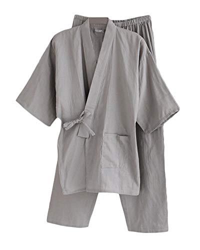 LiangZhu Bademantel Herren Japanische Yukata Pyjama Gesetzt Kimono Robe Nachthemd Morgenmantel Gräulich M -